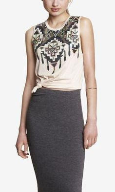 AZTEC SEQUIN EMBELLISHED MUSCLE TANK from EXPRESS
