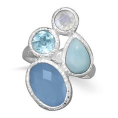 Amazon.com: Chalcedony, Larimar, Topaz and Moonstone Ring .925 Sterling Silver Oval Stone: Jewelry