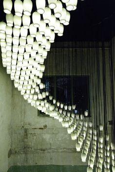 It's Nice That : 1,664 reused yoghurt pots + bucket loads of creativity = stunning light installation