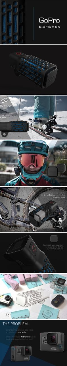 GoPro cameras are fantastic for capturing photo and video just about anywhere imaginable. But there's just one flaw! The sound quality pales in comparison. This GoPro EarShot microphone concept is designed to be just as tough. Even when there's wind and vibration, you can record expert audio on all your adventures. The EarShot fits right in to the current line of Gopro mounts and equipment both in function and form.
