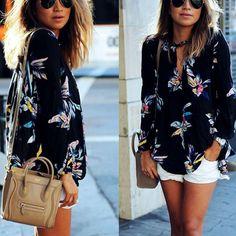 2befe11638c0f Fashion Women Summer Long Sleeve Chiffon T Shirt Floral Casual Loose Blouse  Tops Women s Summer Fashion