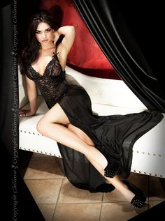 IN STOCK. Long black lingerie nightdress with a co-coordinating matching G- string. This chic long gown has a lace top and is sheer at back with a long chiffon train. Available sizes: Small, Medium, Large or X-Large Sexy Dresses, Prom Dresses, Formal Dresses, Long Nightdress, Black Lingerie, Sexy Women, Gowns, Lady, Long Legs
