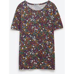 Zara Floral Print T-Shirt ($9.90) ❤ liked on Polyvore featuring tops, t-shirts, various, zara t shirts, floral tee, floral print tee, flower print tops and zara top