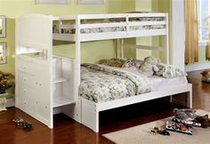 Appenzell white finish wood Twin over Full bunk bed with staircase end with storage drawers and panel look design. This set features a Twin over Full bunk bed with a staircase storage drawer end. Some assembly required. Twin Full Bunk Bed, Double Bunk Beds, Bunk Bed With Trundle, Full Bed, Twin Twin, Bunk Beds With Drawers, Bunk Beds With Storage, Bunk Beds With Stairs, White Bunk Beds