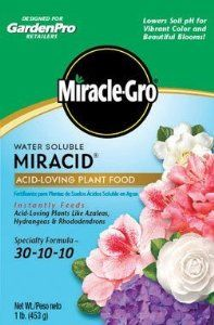 Scotts Company 175001 Garden Pro Water Soluble Miracid Acid Loving Plant Food, 1-Pound by The Scotts Company. $6.66. Starts to work instantly. Miracle gro water soluble fertilizer miracid acid loving plant food. Double feeding action feeds through both the roots and the leaves. Instantly feeds acid loving plants like azaleas, hydrangeas and rhododendrons. Promotes quick, beautiful blooms and strong root development. Miracle gro water soluble fertilizer miracid acid lovi...