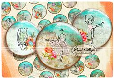 Buttons Pinback Digital Printable Images for Button machine 1.313 inch Flatback Buttons Flair Buttons Clip art Ballet b176 - pinned by pin4etsy.com
