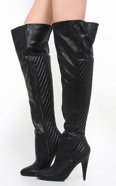 Pointed toe leatherette over the knee boots with a interesting striped texture. Super cute!  | MakeMeChic.com