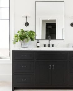31 Interesting Black And White Bathroom Design Ideas. If you are looking for Black And White Bathroom Design Ideas, You come to the right place. Below are the Black And White Bathroom Design Ideas. White Bathroom, Modern Bathroom, Master Bathroom, Bathroom Vanities, Bathroom Cabinets, Bathroom Ideas, Black Vanity Bathroom, Mirror Bathroom, Bathroom Canvas