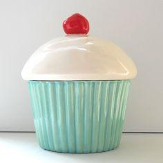 Ceramic Cupcake Cookie Jar Aqua Mint Biscuit Jar Cake Lover Gift by fruitflypie on Etsy https://www.etsy.com/listing/50699244/ceramic-cupcake-cookie-jar-aqua-mint