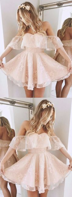 A-Line Off-the-Shoulder Short Pearl Pink Lace Homecoming Dress,Short/Mini Bridal Dress,Sweet 16 Cocktail Dress,Plus Size Prom Dress,Homecoming Dress,GY89