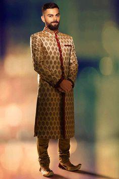 Manyavar Beige Silk Embroidered Jodhpuri Sherwani - Groom wear for fine weddings - The Virat Collection Sherwani For Men Wedding, Wedding Men, Sherwani For Groom, Punjabi Wedding, Farm Wedding, Wedding Couples, Boho Wedding, Wedding Stuff, Dream Wedding
