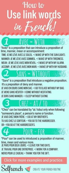 Learn the preposition in French 4 easy link words to create sentence + free exercises French Language Lessons, French Language Learning, French Lessons, German Language, Spanish Lessons, Japanese Language, Spanish Language, French Phrases, French Words