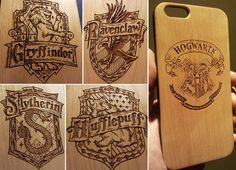 Hogwarts Badge Wood Phone Case - Harry Potter Inspired Gift Gryffindor Ravenclaw Slytherin - UK MADE - iPhone 5 5s 6 plus Samsung s5