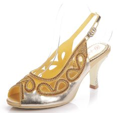 Honeystore Women's Leatherette Slingback Open-toe Heeled Sandals Rhinestone Stiletto -- Be sure to check out this awesome product.