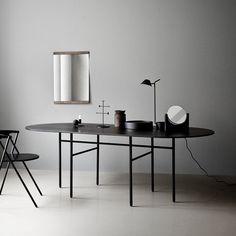 Snaregade matbord - Snaregade matbord - svart bets ek, ovalt