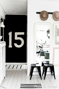 LOVE how the black wall with the big numbers really makes a statement!