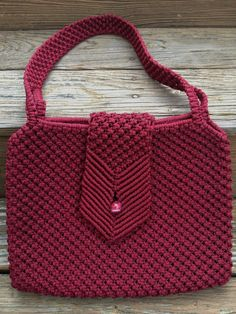 Vintage Macrame Purse Burgundy Red Handmade Art by Vintageworks