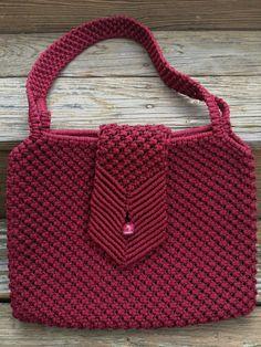 Vintage Macrame Purse Burgundy Red Handmade Art by Vintageworks