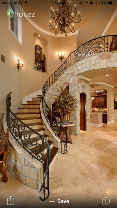 Mediterranean Home Photos: Find Mediterranean Homes and Mediterranean Decor Online Grand Staircase, Staircase Design, Curved Staircase, Railing Design, Stair Railing, Railings, Mediterranean Design, Mediterranean Architecture, Tuscan Decorating