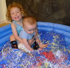 Shredded Paper Pool (Life Sized Easter Basket) FUN AT HOME WITH KIDS