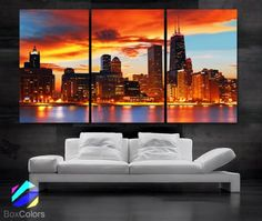 "Large 30""x 60"" 3 Panels 30""x20"" Ea Art Canvas Print Beautiful Chicago Skyline Sunset Light Wall Home (Included Framed 1.5"" Depth)"