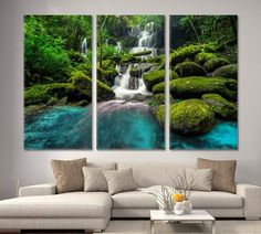 Mountains Wall Art Print Waterfall Canvas Landscape Wall Art Landscape Canvas Art Nature Multi Panel Set Mountains Wall Decor Forest Print by ArtWog Office Wall Decor, Office Walls, Fall Canvas, Canvas Art, Oversized Wall Art, Surf Decor, Thing 1, Colorful Wall Art, Landscape Walls