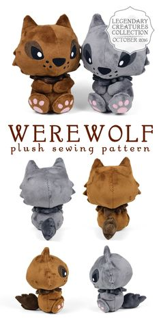 "sewdesune: "" For October I made a new plush pattern for my legendary creatures collection ♥ It seemed only fitting that it should be a Werewolf. It's got a chibi wolf look to it with lots of spiky fur on the sides of the head, the tail, and in the..."
