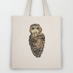 Northern Spotted Owl Illustrated Tote Bag $18.00 http://society6.com/madiillustration/Northern-Spotted-Owl_Bag