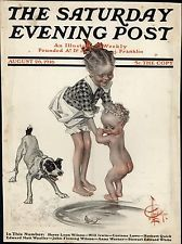 child fish dog girl by J. C. Leyendecker, Aug. 26, 1916, The Saturday Evening…