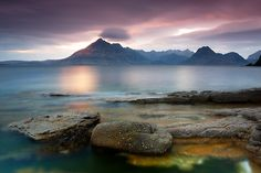 view of The Black Cuillins from Elgol beach on the Isle of Skye ... Inverness-shire, Scottish Highlands, Caledonia