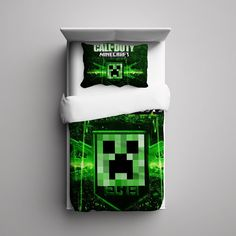 #06+Minecraft+Creeper+Call+of+Duty+Custom+Fleece+Blanket/+Pillow+Case+Bed+Set+Bedding+Single/+Twin