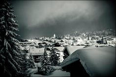 Klosters, Switzerland after a 3 day snowstorm (shot at night)