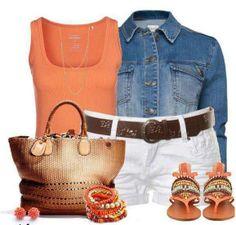 Summer!!!!  Denim shirt, coral tank, white short (a bit longer than these), and cognac bag...