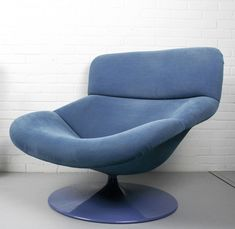 Vintage F518 Lounge chair in blue by Geoffrey Harcourt for Artifort