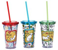 These tumblers with straws are the perfect way to show how your feel about your pet and be eco-friendly at the same time. Each set contains 4 tumblers with a different saying on each.  3 Assorted Colors:  Red, Blue, Green