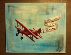 20x24 hand painted personalized airplane painting with name/birth info