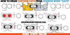 How to Draw Cartoon Cats from the Spanish Word Gato - Easy Step by Step Drawing…