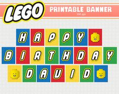 Happy Birthday LEGO Banner Printable