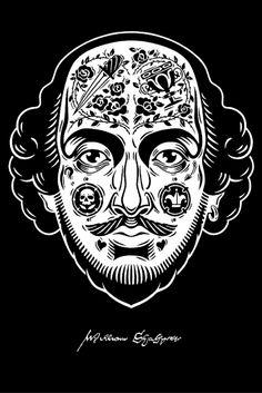 Magnífico retrato de William Shakespeare en blanco y negro