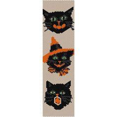 3 Halloween Cats Peyote Bead Pattern, Bracelet Cuff, Bookmark, Seed Beading Pattern Miyuki Delica Size 11 Beads - PDF Instant Download