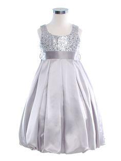 Silver sequin flower girl dress.