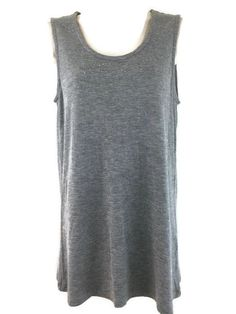 Christopher & Banks M Top Gray Silver Studded Soft Rayon Knit Sleeveless Shell #ChristopherBanks #KnitTop #Casual