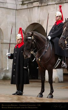 The Blues and Royals (the Royal Horse Guards and 1st Dragoons) are a part of the Royal Household Guards. Along with the Coldstream Guards, they trace their heritage back to the New Model Army of 1645, formed by the Parliamentarians during the English Civil War. It was formed by merging the Royal Horse Guards (Blues) with the Royal Dragoons (Royals) in 1969, and along with the Life Guards form the Household Cavalry. Royal Horse Artillery, British Uniforms, Army Day, British Armed Forces, King And Country, Lifeguard, British Army, Military History, Great Britain