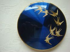 Vintage Powder Compact Stratton Birds with Sifter and Puff