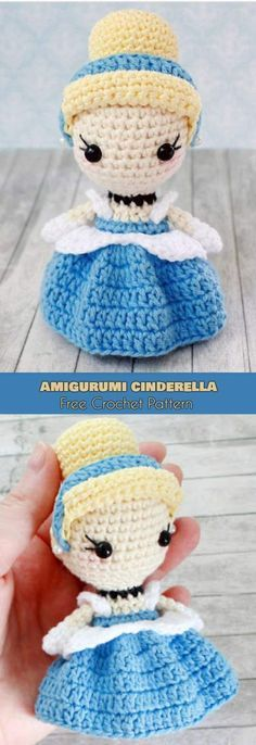 Amigurumi Cinderella [Free Crochet Pattern] Crochet Tiny Doll - Princess Cinderlla, Softies, Toy