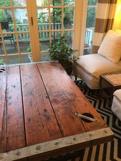 Liberty Ship Hatch Door Coffee Table Nautical Antique Furniture Rare World War 2 Vintage