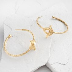 Moonstone and Gold Floral Hoop Earrings - v1