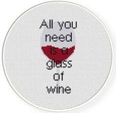 Glass Of Wine Cross Stitch Pattern