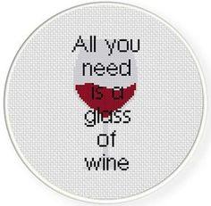 Glass Of Wine Cross Stitch Pattern