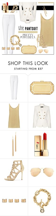 """The Pantsuit - 150616"" by vixen-vixen ❤ liked on Polyvore featuring ESCADA, BCBGMAXAZRIA, Iris & Ink, Balmain, Jules Smith, Yves Saint Laurent, Sergio Rossi, Ray-Ban, Maison Margiela and Michael Kors"